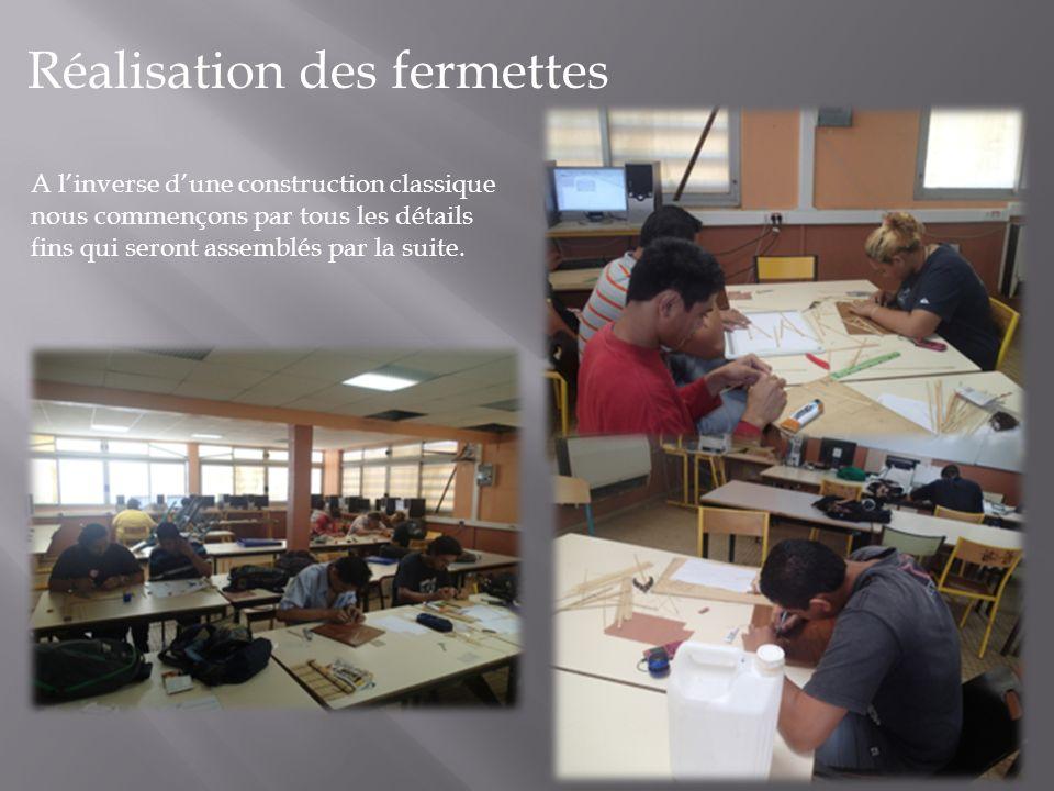 Réalisation des fermettes A linverse dune construction classique nous commençons par tous les détails fins qui seront assemblés par la suite.