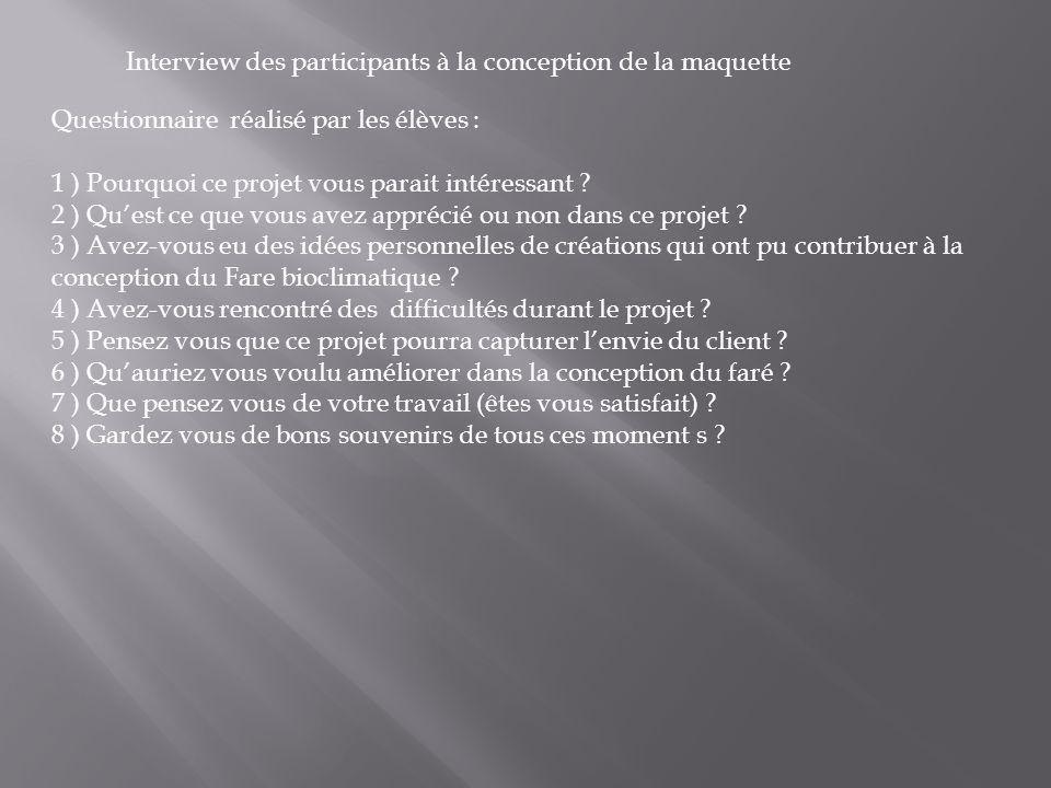 Interview des participants à la conception de la maquette Questionnaire réalisé par les élèves : 1 ) Pourquoi ce projet vous parait intéressant ? 2 )