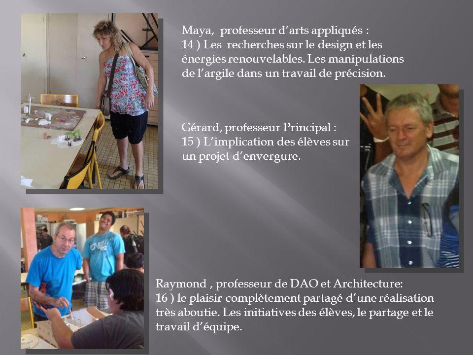 Maya, professeur darts appliqués : 14 ) Les recherches sur le design et les énergies renouvelables. Les manipulations de largile dans un travail de pr
