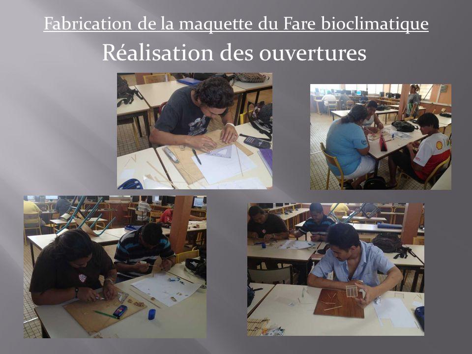 Fabrication de la maquette du Fare bioclimatique Réalisation des ouvertures