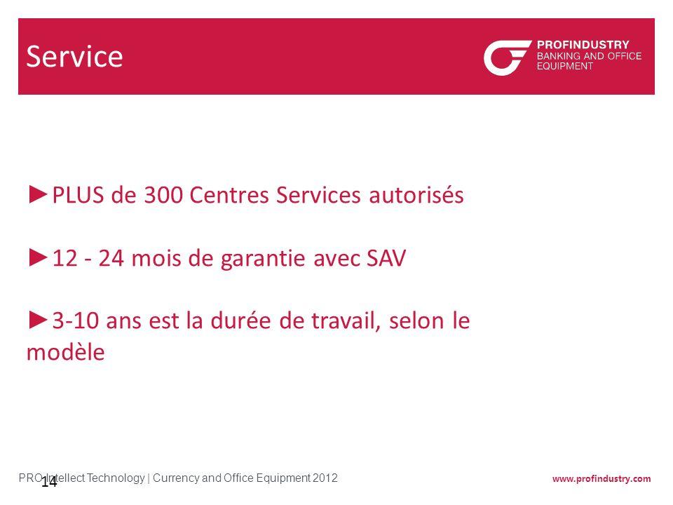 www.profindustry.com PRO Intellect Technology | Currency and Office Equipment 2012 14 Service PLUS de 300 Centres Services autorisés 12 - 24 mois de g