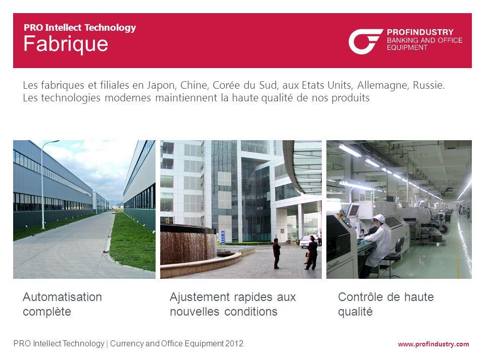 www.profindustry.com PRO Intellect Technology   Currency and Office Equipment 2012 Fabrique Ajustement rapides aux nouvelles conditions Les fabriques