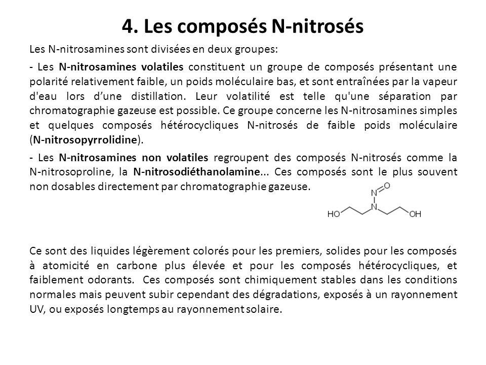 4. Les composés N-nitrosés Les N-nitrosamines sont divisées en deux groupes: - Les N-nitrosamines volatiles constituent un groupe de composés présenta