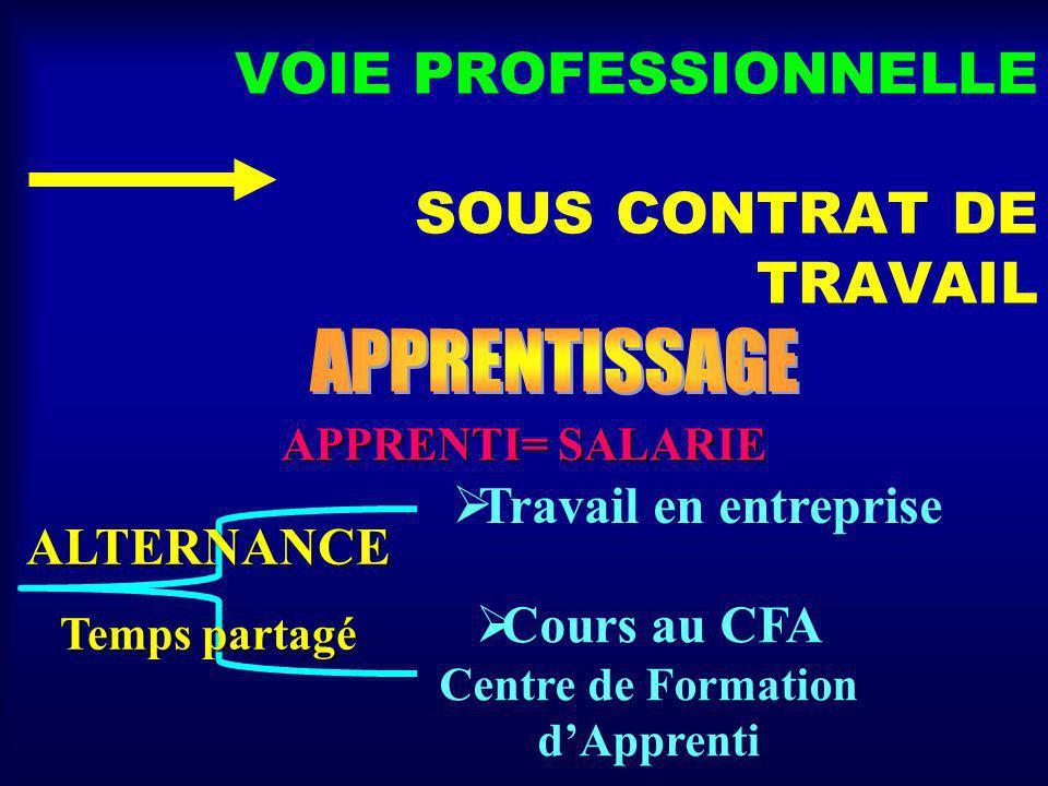 VOIE PROFESSIONNELLE SOUS CONTRAT DE TRAVAIL APPRENTI= SALARIE Travail en entreprise Cours au CFA Centre de Formation dApprenti ALTERNANCE Temps partagé