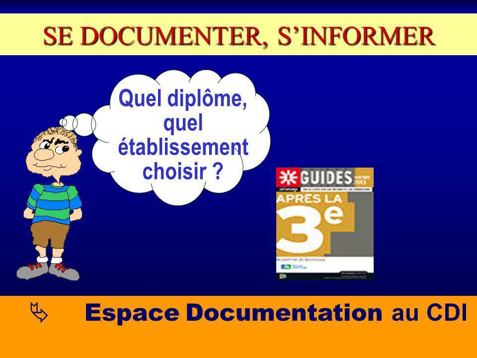 Quel diplôme, quel établissement choisir SE DOCUMENTER, SINFORMER Espace Documentation au CDI
