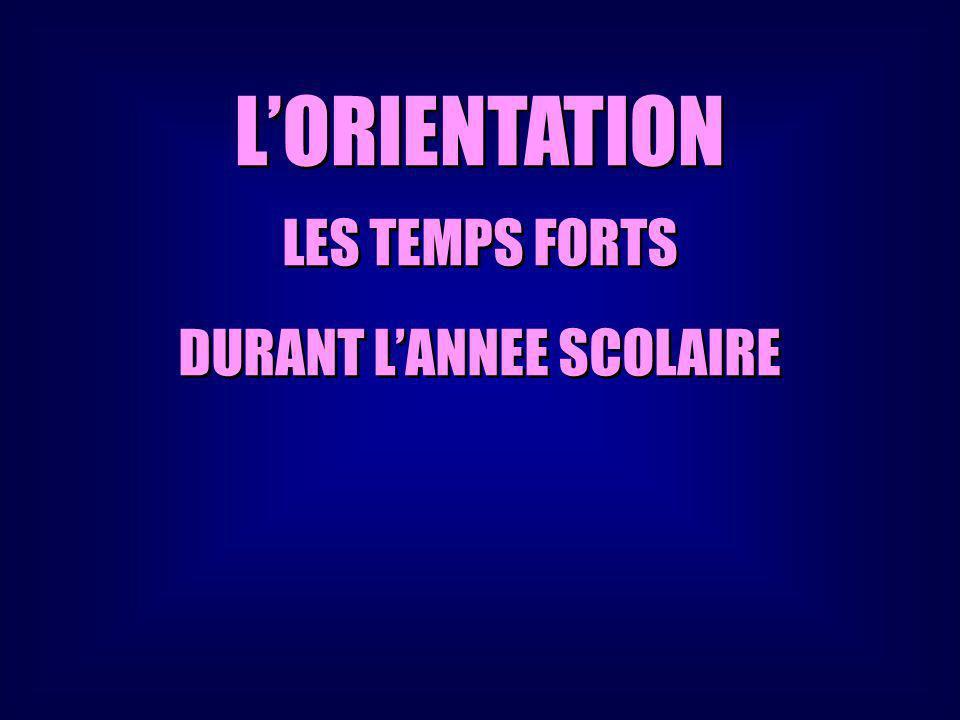LORIENTATION LES TEMPS FORTS DURANT LANNEE SCOLAIRE LORIENTATION LES TEMPS FORTS DURANT LANNEE SCOLAIRE