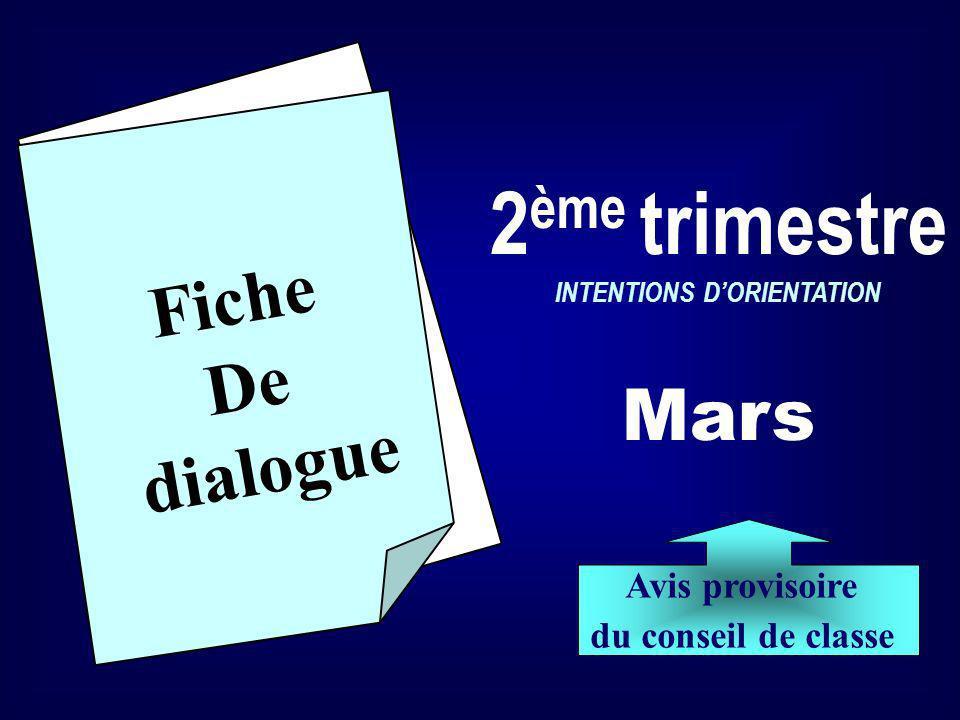 Fiche De dialogue 2 ème trimestre INTENTIONS DORIENTATION Mars Avis provisoire du conseil de classe