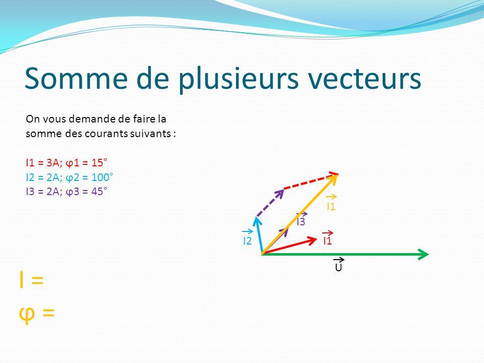 Exercice N°7 Calculez la valeur efficace du courant total ainsi que son déphasage pour le montage suivant : I I2 I3 I4 I1 Données : I1 : 2A; ϕ1 = 25°I2 : 4A; ϕ2 = 270° I3 : 1A; ϕ3 = 90°I4 : 3.5A; ϕ4 = 185° I1 I3 I4 I2 I ϕ