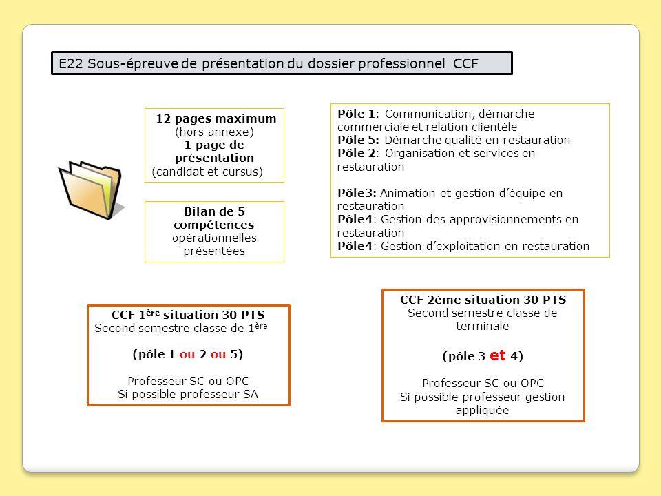 E22 Sous-épreuve de présentation du dossier professionnel CCF 12 pages maximum (hors annexe) 1 page de présentation (candidat et cursus) Bilan de 5 co