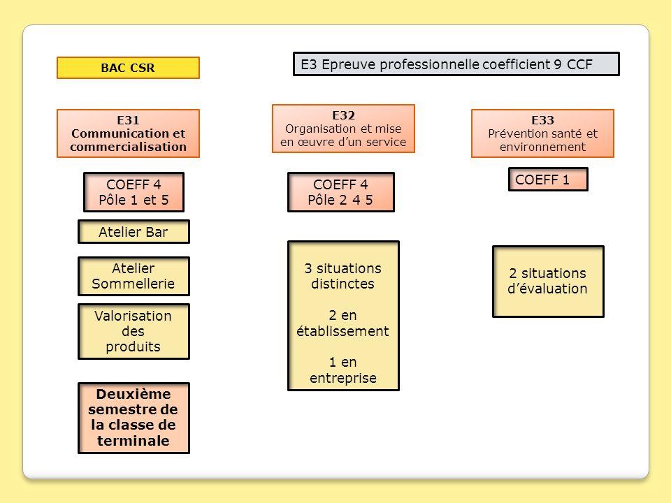 E3 Epreuve professionnelle coefficient 9 CCF E31 Communication et commercialisation E32 Organisation et mise en œuvre dun service E33 Prévention santé