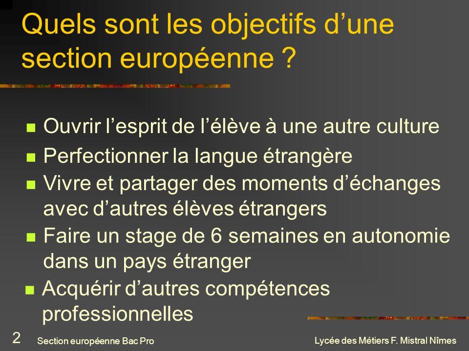 Lycée des Métiers F. Mistral Nîmes Quels sont les objectifs dune section européenne ? Ouvrir lesprit de lélève à une autre culture Acquérir dautres co