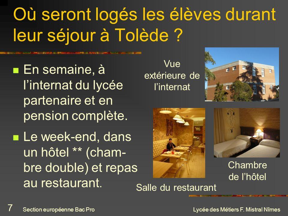 Lycée des Métiers F. Mistral Nîmes Où seront logés les élèves durant leur séjour à Tolède ? En semaine, à linternat du lycée partenaire et en pension