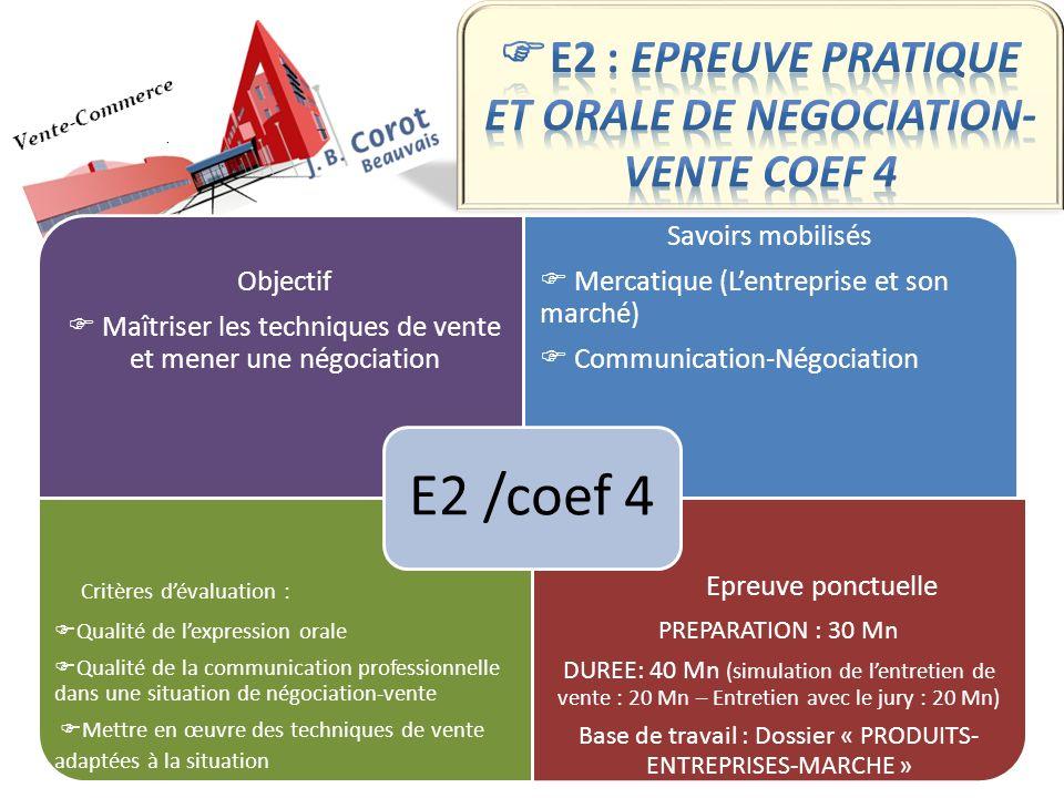 Objectif Maîtriser les techniques de vente et mener une négociation Savoirs mobilisés Mercatique (Lentreprise et son marché) Communication-Négociation