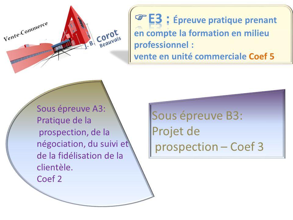 Sous épreuve A3: Pratique de la prospection, de la négociation, du suivi et de la fidélisation de la clientèle. Coef 2 Sous épreuve B3: Projet de pros