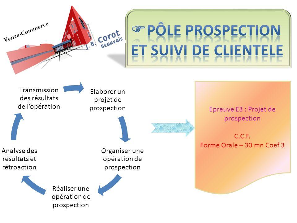 Epreuve E3 : Projet de prospection C.C.F. Forme Orale – 30 mn Coef 3 Elaborer un projet de prospection Organiser une opération de prospection Réaliser