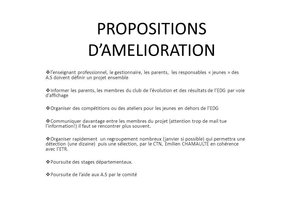 PROPOSITIONS DAMELIORATION lenseignant professionnel, le gestionnaire, les parents, les responsables « jeunes » des A.S doivent définir un projet ense