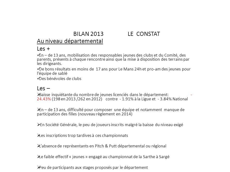BILAN 2013 LE CONSTAT Au niveau départemental Les + En – de 13 ans, mobilisation des responsables jeunes des clubs et du Comité, des parents, présents