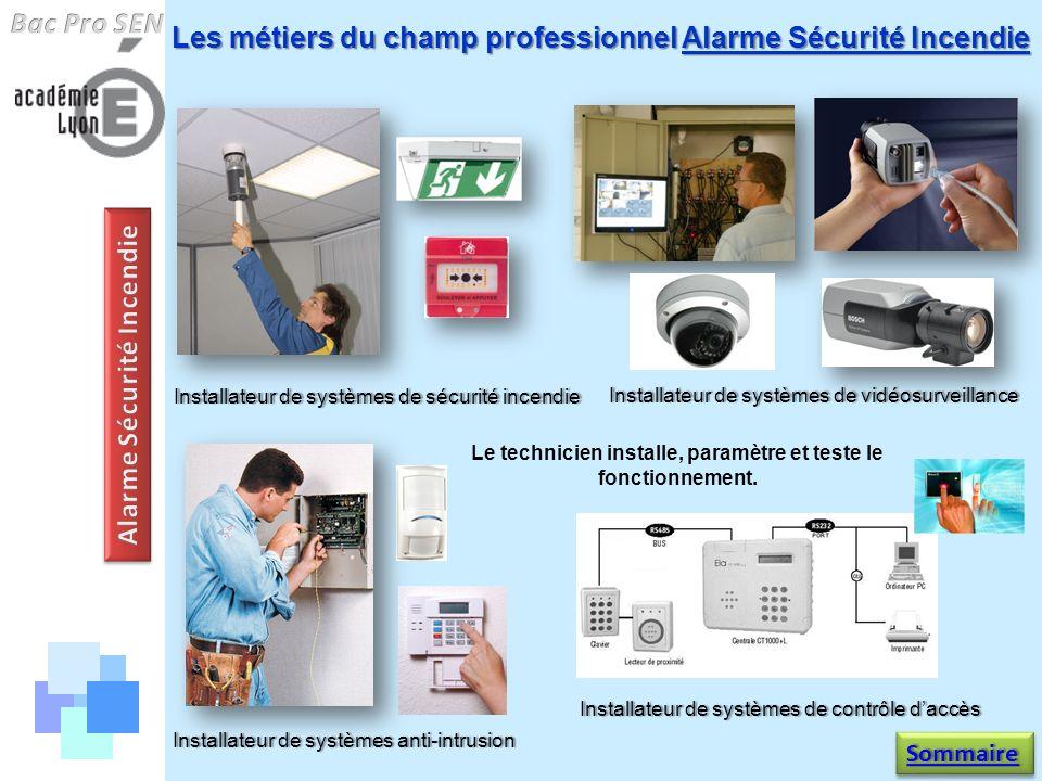 Les métiers du champ professionnel Alarme Sécurité Incendie Le technicien installe, paramètre et teste le fonctionnement. Installateur de systèmes ant