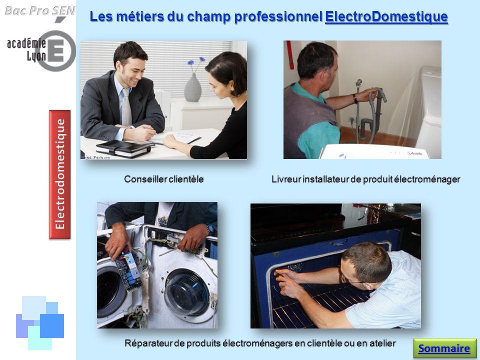Les métiers du champ professionnel ElectroDomestique Réparateur de produits électroménagers en clientèle ou en atelier Conseiller clientèle Livreur in