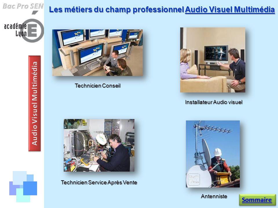 Les métiers du champ professionnel Audio Visuel Multimédia Technicien Conseil Technicien Service Après Vente Installateur Audio visuel Antenniste Somm