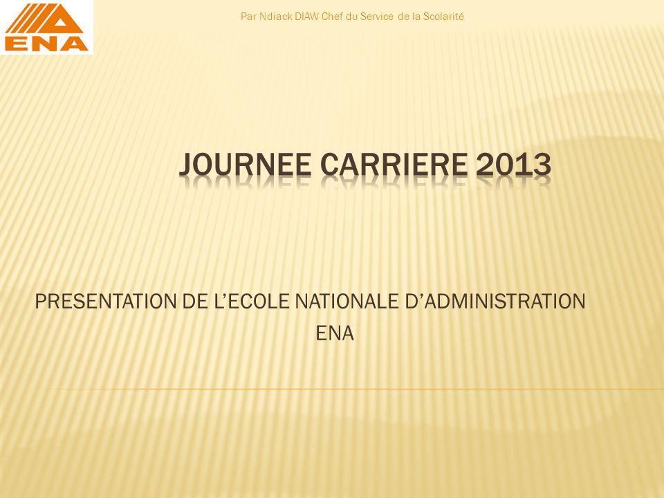 PRESENTATION DE LECOLE NATIONALE DADMINISTRATION ENA Par Ndiack DIAW Chef du Service de la Scolarité
