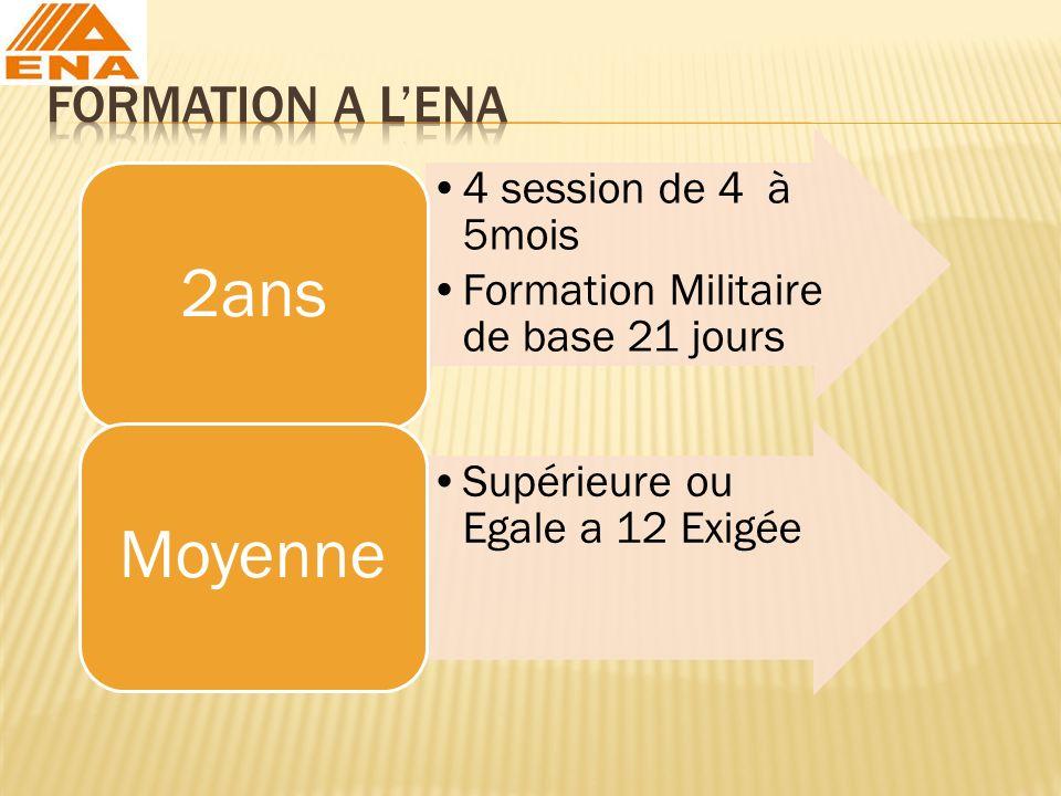 4 session de 4 à 5mois Formation Militaire de base 21 jours 2ans Supérieure ou Egale a 12 Exigée Moyenne