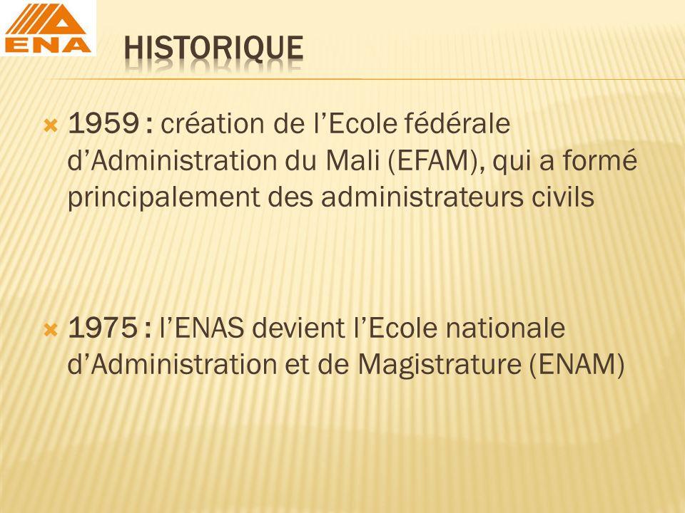 1959 : création de lEcole fédérale dAdministration du Mali (EFAM), qui a formé principalement des administrateurs civils 1975 : lENAS devient lEcole n