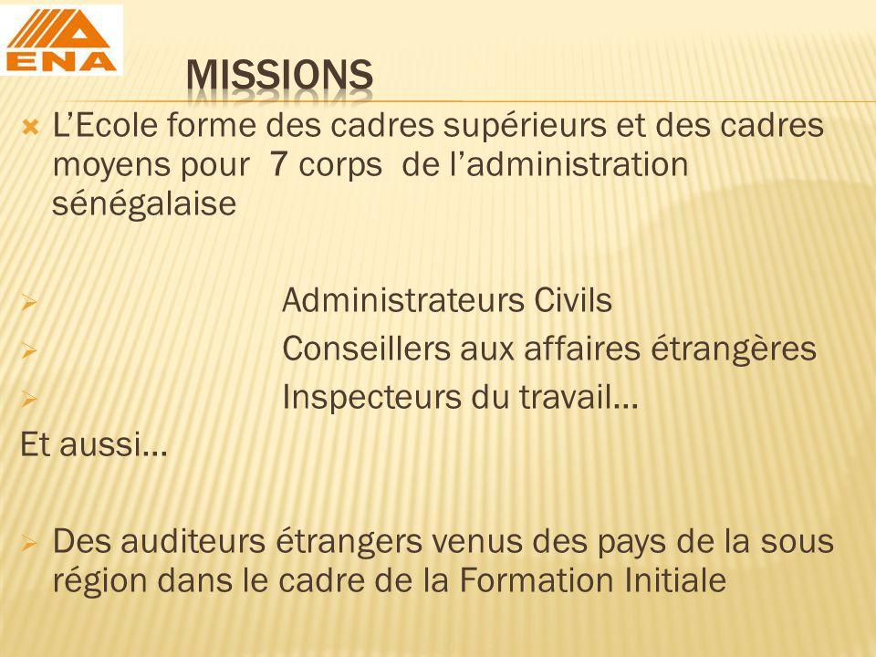 LEcole forme des cadres supérieurs et des cadres moyens pour 7 corps de ladministration sénégalaise Administrateurs Civils Conseillers aux affaires ét