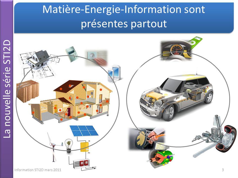 Information STI2D mars 20113 La nouvelle série STI2D Matière-Energie-Information sont présentes partout