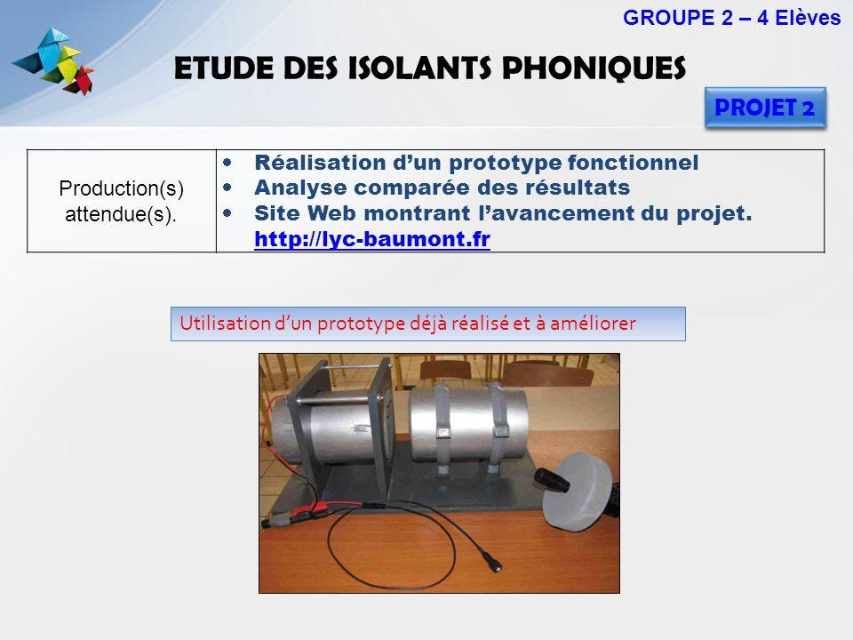 ETUDE DES ISOLANTS PHONIQUES Production(s) attendue(s). Réalisation dun prototype fonctionnel Analyse comparée des résultats Site Web montrant lavance