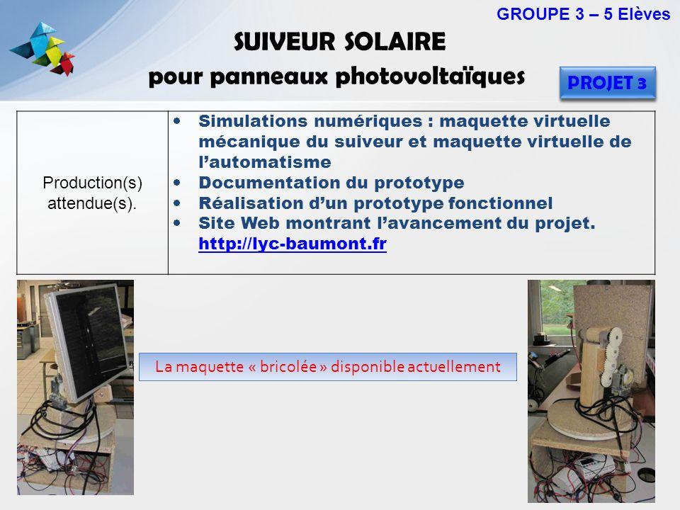 SUIVEUR SOLAIRE pour panneaux photovoltaïques Production(s) attendue(s). Simulations numériques : maquette virtuelle mécanique du suiveur et maquette