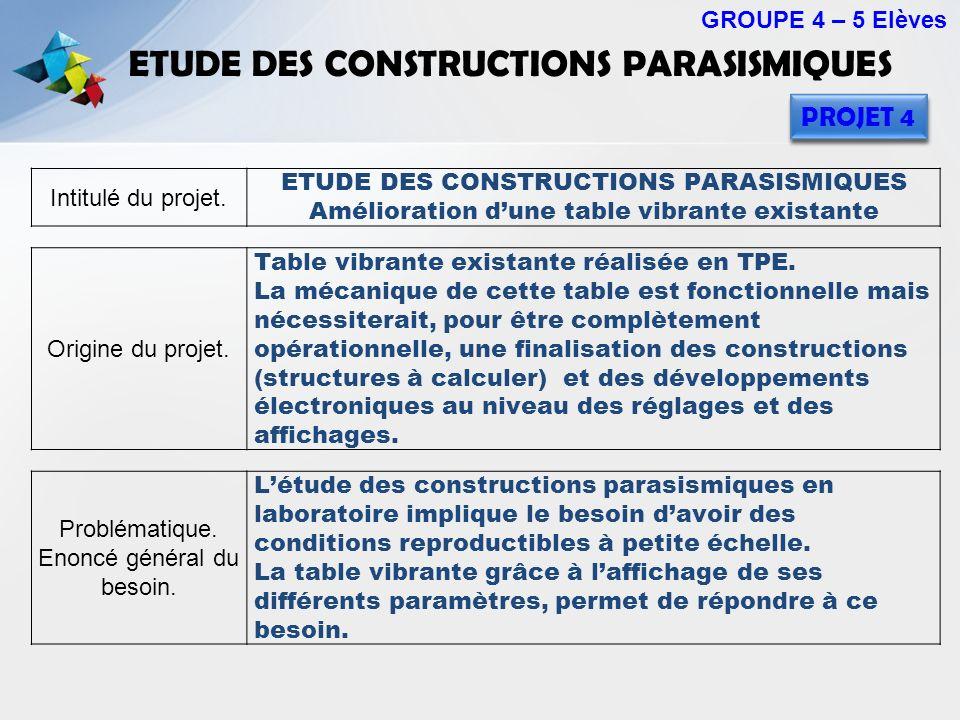 ETUDE DES CONSTRUCTIONS PARASISMIQUES GROUPE 4 – 5 Elèves PROJET 4 Intitulé du projet. ETUDE DES CONSTRUCTIONS PARASISMIQUES Amélioration dune table v