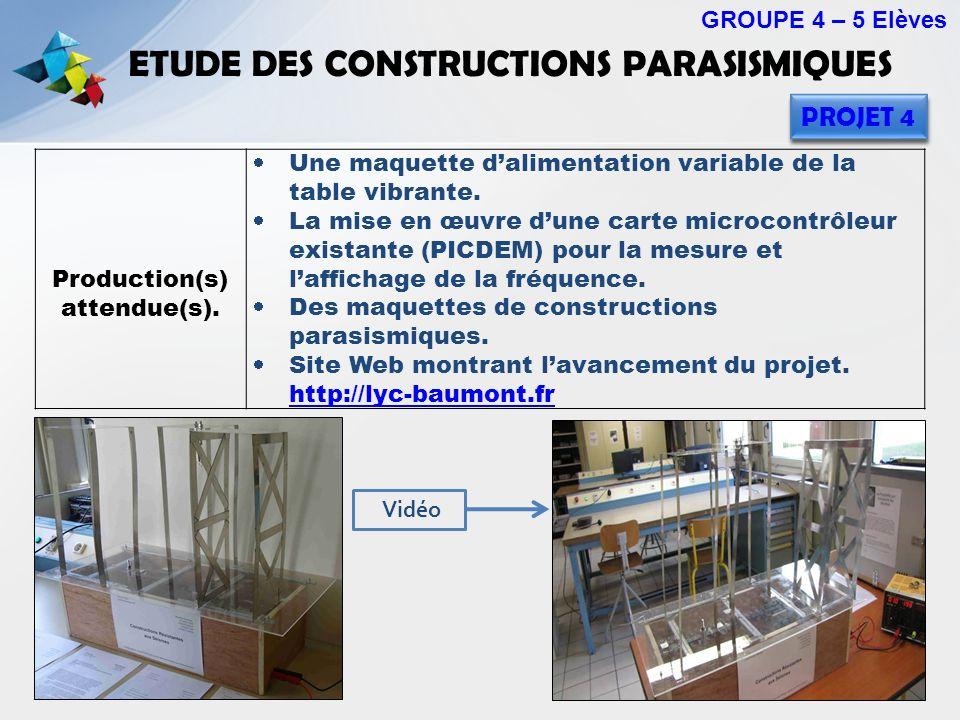 ETUDE DES CONSTRUCTIONS PARASISMIQUES GROUPE 4 – 5 Elèves PROJET 4 Production(s) attendue(s). Une maquette dalimentation variable de la table vibrante