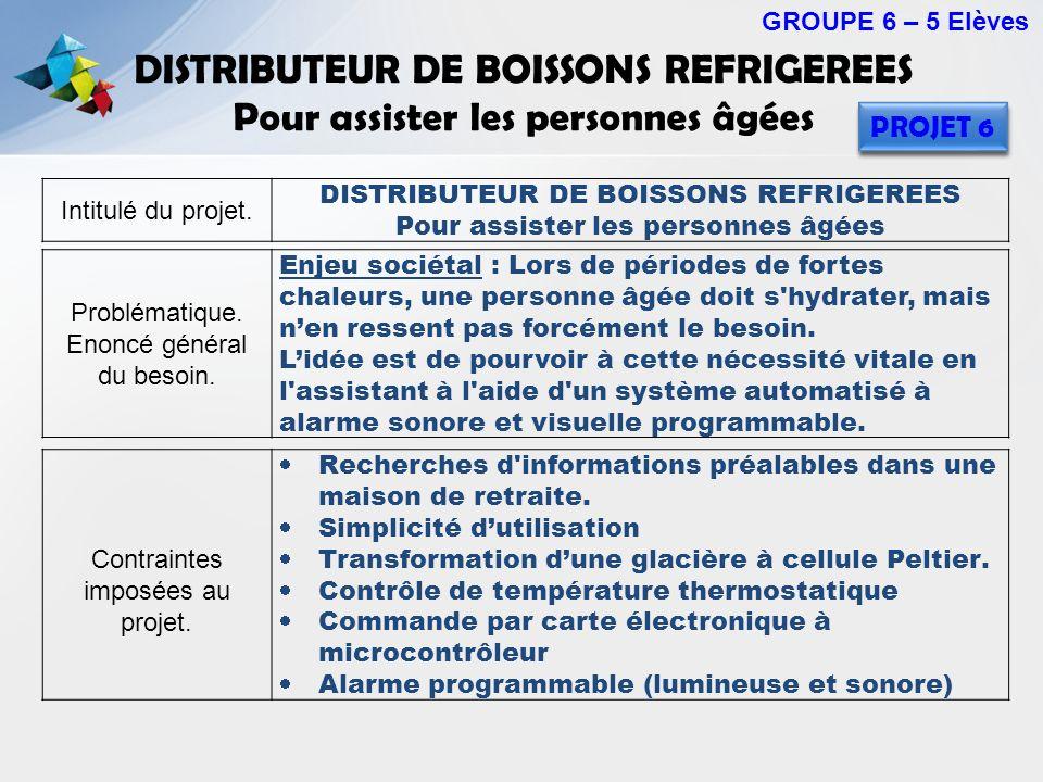 DISTRIBUTEUR DE BOISSONS REFRIGEREES Pour assister les personnes âgées GROUPE 6 – 5 Elèves PROJET 6 Intitulé du projet. DISTRIBUTEUR DE BOISSONS REFRI