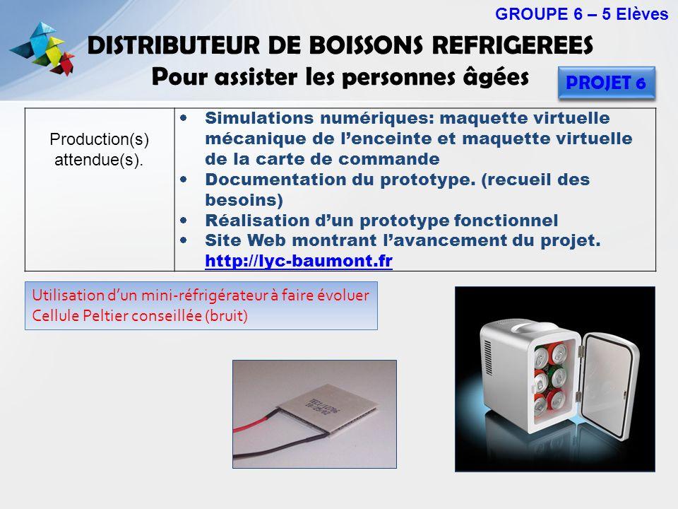 DISTRIBUTEUR DE BOISSONS REFRIGEREES Pour assister les personnes âgées GROUPE 6 – 5 Elèves PROJET 6 Production(s) attendue(s). Simulations numériques: