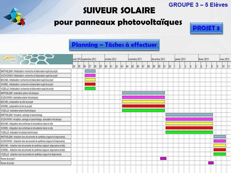 SUIVEUR SOLAIRE pour panneaux photovoltaïques GROUPE 3 – 5 Elèves PROJET 3 Planning – Tâches à effectuer
