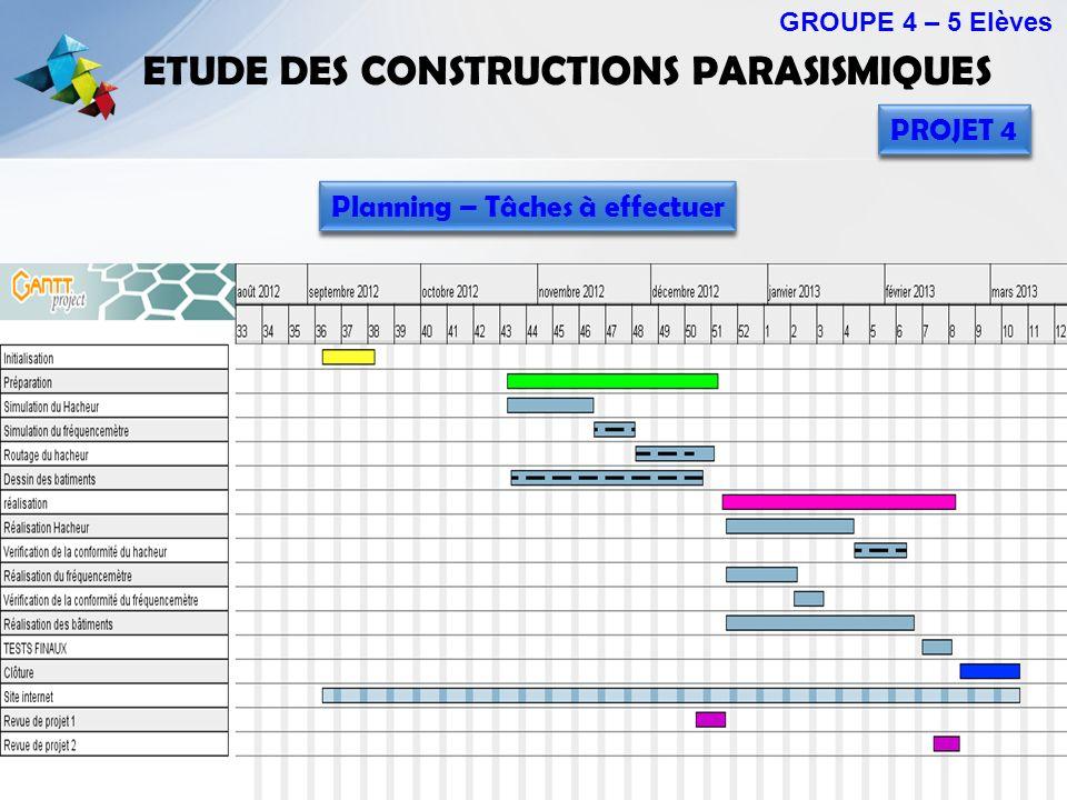 ETUDE DES CONSTRUCTIONS PARASISMIQUES GROUPE 4 – 5 Elèves PROJET 4 Planning – Tâches à effectuer