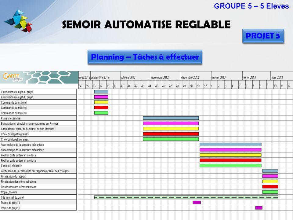 SEMOIR AUTOMATISE REGLABLE GROUPE 5 – 5 Elèves PROJET 5 Planning – Tâches à effectuer