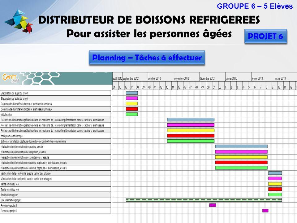DISTRIBUTEUR DE BOISSONS REFRIGEREES Pour assister les personnes âgées GROUPE 6 – 5 Elèves PROJET 6 Planning – Tâches à effectuer