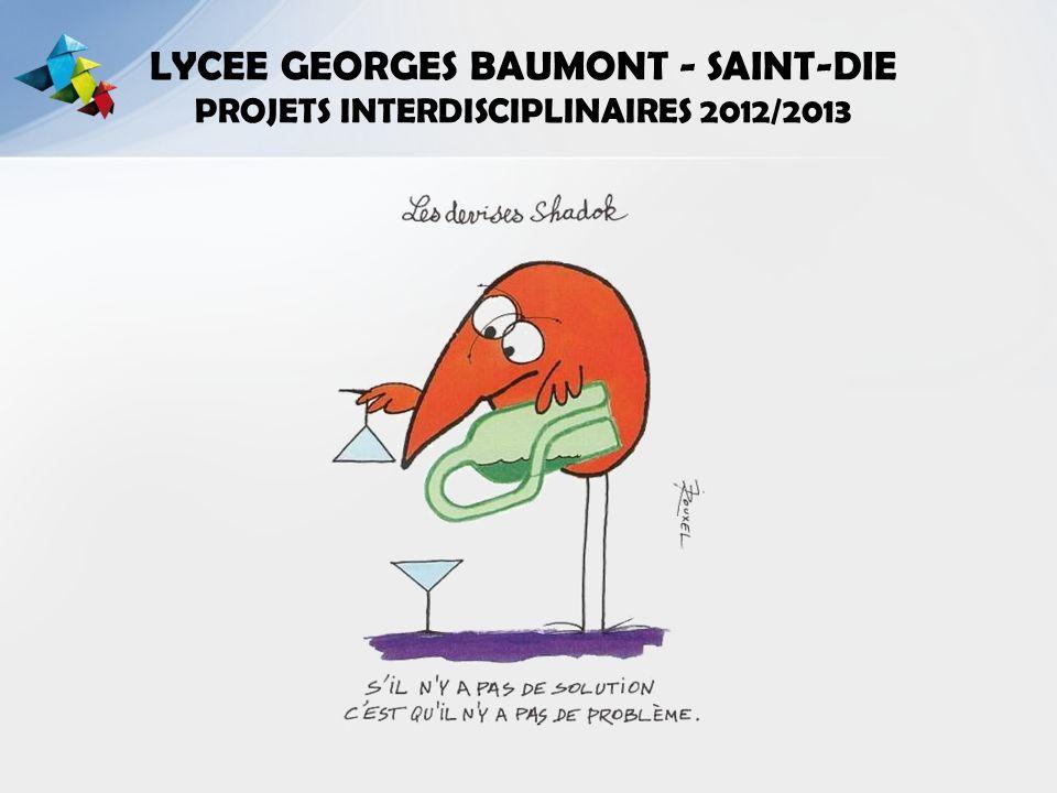 LYCEE GEORGES BAUMONT - SAINT-DIE PROJETS INTERDISCIPLINAIRES 2012/2013