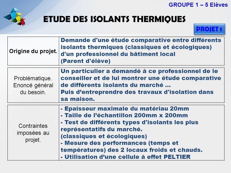 ETUDE DES ISOLANTS THERMIQUES GROUPE 1 – 5 Elèves Origine du projet. Demande d'une étude comparative entre différents isolants thermiques (classiques