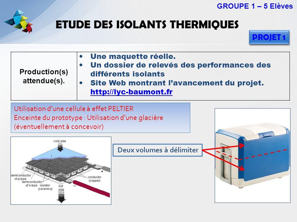 ETUDE DES ISOLANTS THERMIQUES Production(s) attendue(s). Une maquette réelle. Un dossier de relevés des performances des différents isolants Site Web