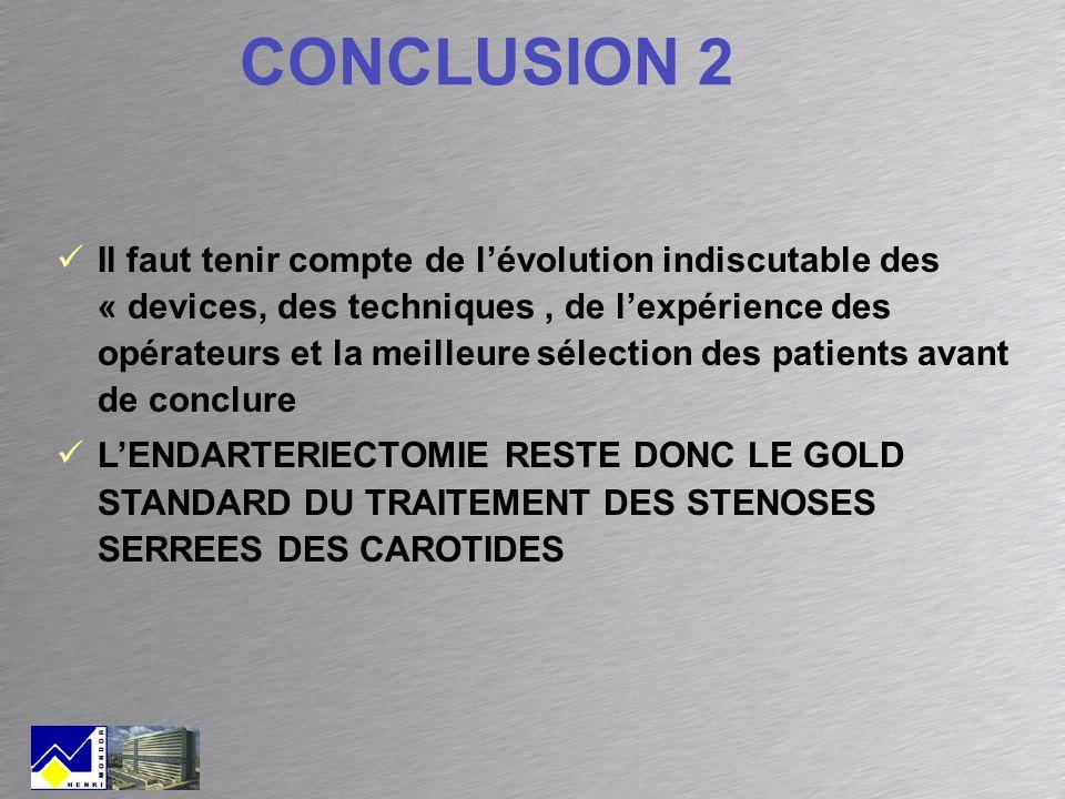 Il faut tenir compte de lévolution indiscutable des « devices, des techniques, de lexpérience des opérateurs et la meilleure sélection des patients av