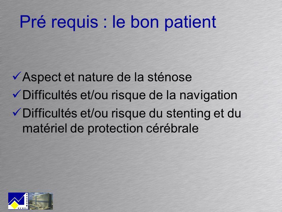 Pré requis : le bon patient Aspect et nature de la sténose Difficultés et/ou risque de la navigation Difficultés et/ou risque du stenting et du matéri