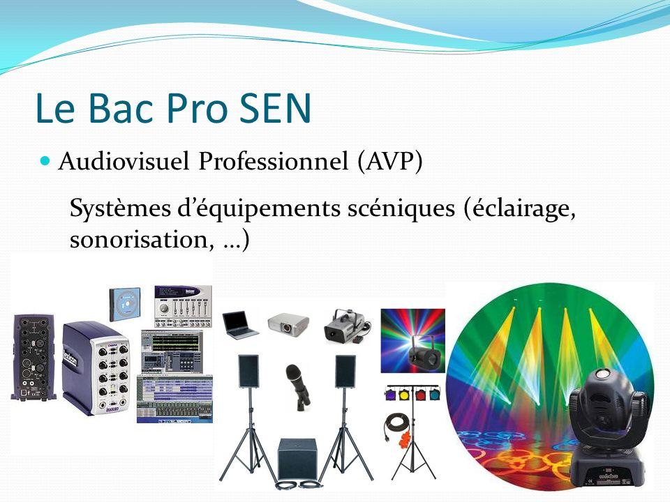 Le Bac Pro SEN Audiovisuel Professionnel (AVP) Systèmes déquipements scéniques (éclairage, sonorisation, …)