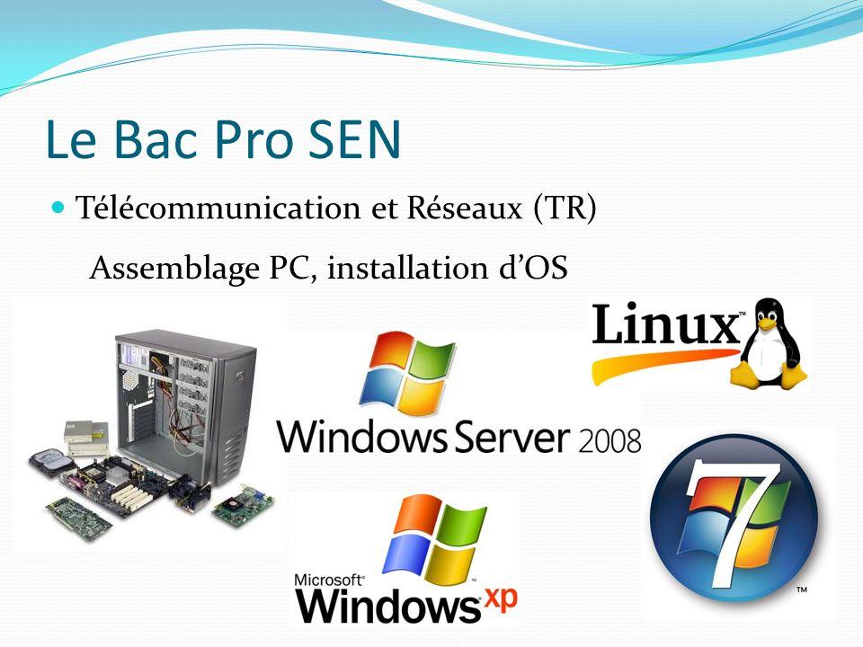 Le Bac Pro SEN Télécommunication et Réseaux (TR) Assemblage PC, installation dOS