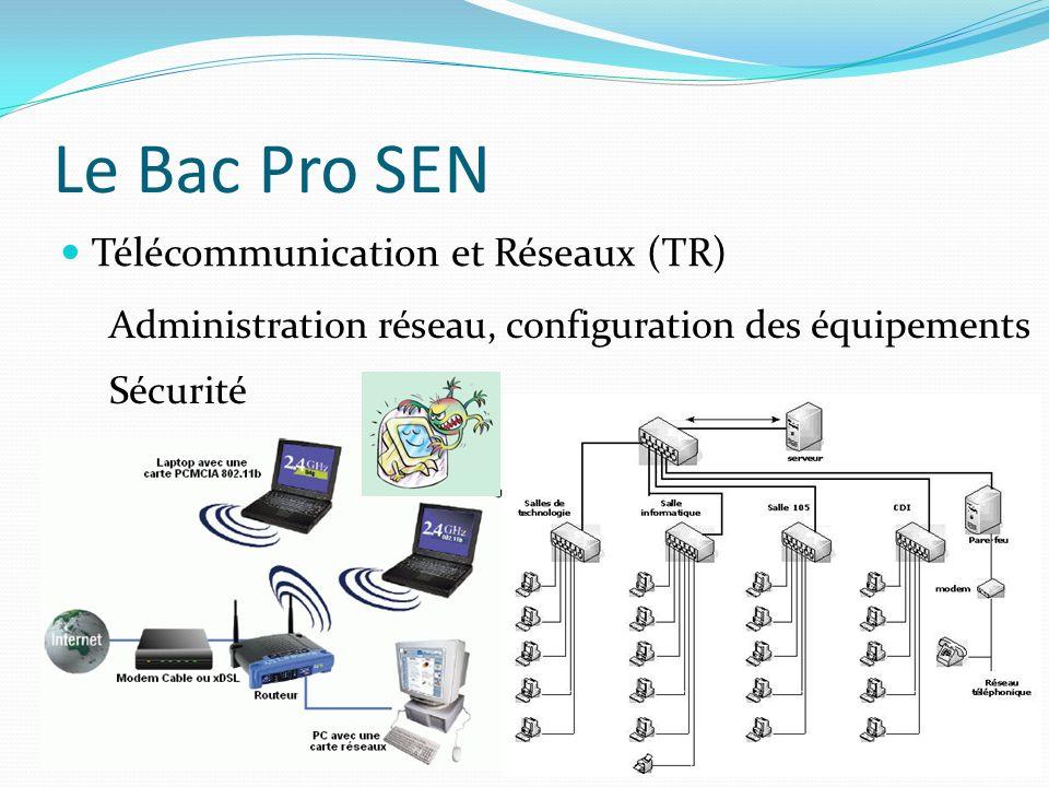 Le Bac Pro SEN Télécommunication et Réseaux (TR) Administration réseau, configuration des équipements Sécurité