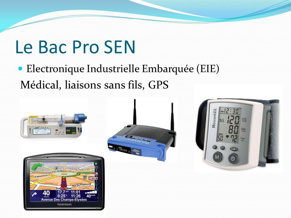 Le Bac Pro SEN Electronique Industrielle Embarquée (EIE) Médical, liaisons sans fils, GPS