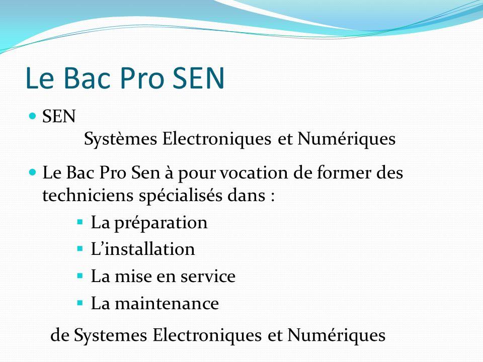 Le Bac Pro SEN SEN Systèmes Electroniques et Numériques Le Bac Pro Sen à pour vocation de former des techniciens spécialisés dans : La préparation Linstallation La mise en service La maintenance de Systemes Electroniques et Numériques