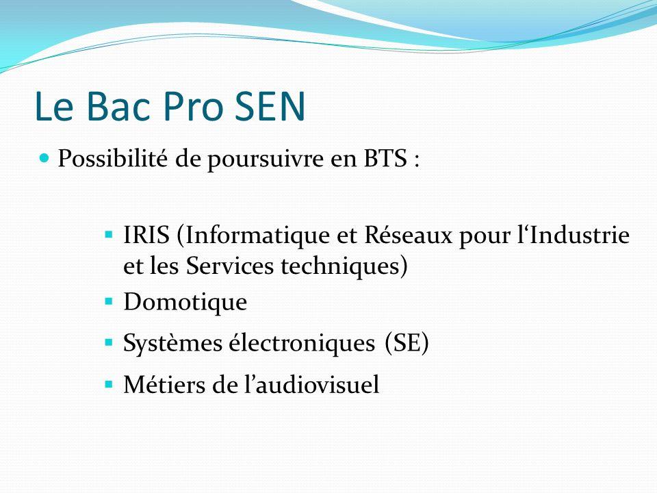 Le Bac Pro SEN Possibilité de poursuivre en BTS : IRIS (Informatique et Réseaux pour lIndustrie et les Services techniques) Domotique Systèmes électroniques (SE) Métiers de laudiovisuel